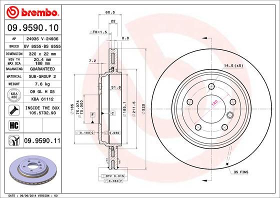 Disco de freno BREMBO 09.9619.10