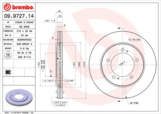 Disco de freno BREMBO 09.9727.14